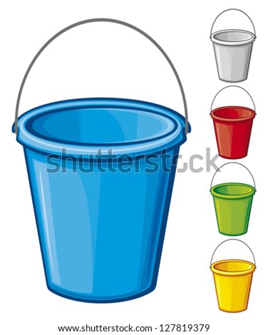 vector colored bucket with handle (buckets in five colours, buckets collection, bucket set) - stock vector