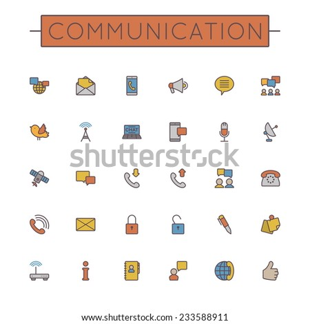 Vector Colored Communication Line Icons - stock vector