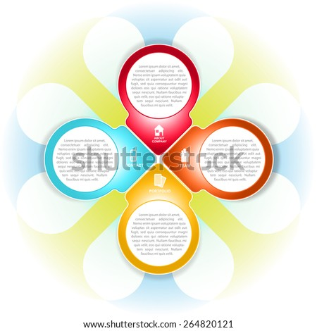 Vector colored cross background with informations about the company - stock vector