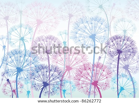 Vector colored dandelions on a blue background - stock vector