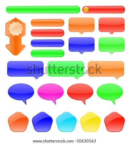 vector colored glossy buttons set