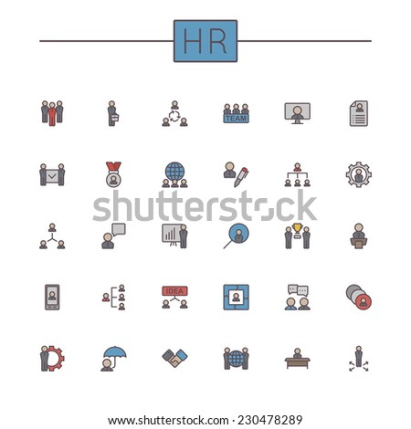Vector Colored HR Line Icons - stock vector