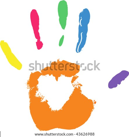 Vector colored imprint of hand white areas of heart are transparent -over any background - stock vector