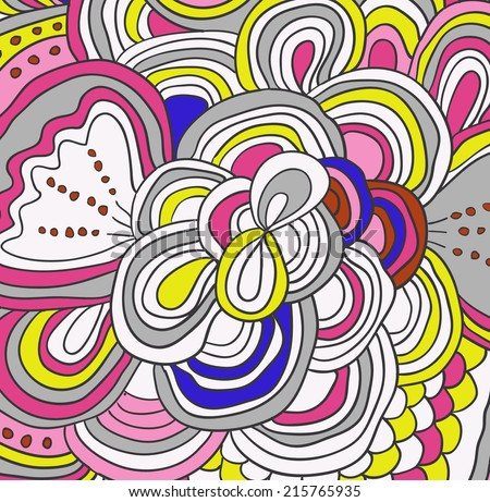 Vector colored lines hand drawn pattern.