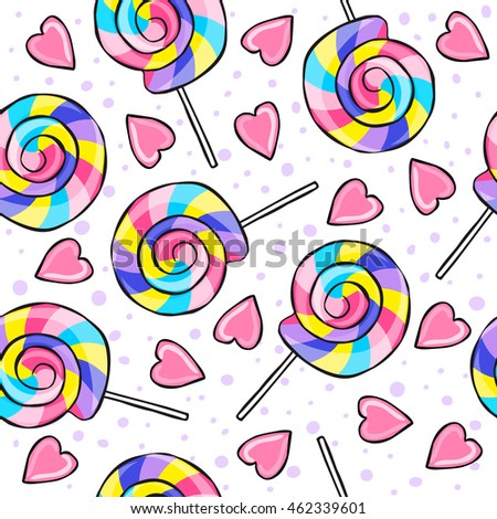 Vector colored lollipops seamless pattern. Cartoon, sketch style, rough lines background sweet candy, heart.