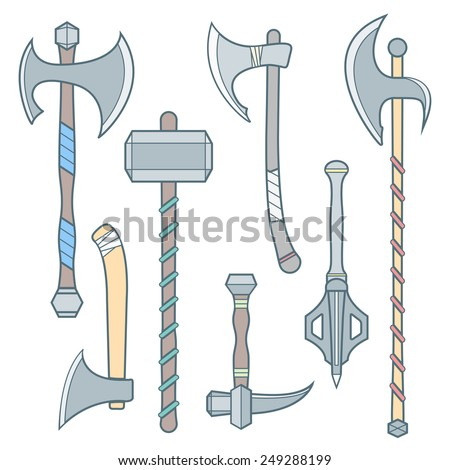 Vector colored outline cold medieval weapons set with ax axe hammer