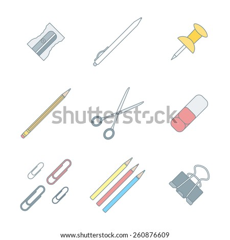 vector colored outline various stationery icons set white background