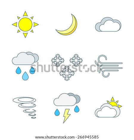 vector colored outline weather forecast icons set white background