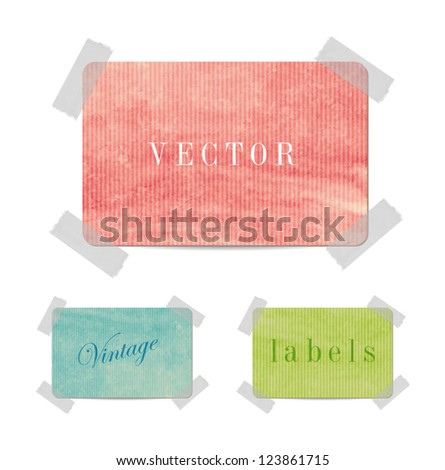 Vector colored paper vintage cardboard banners attached with sticky tape - stock vector
