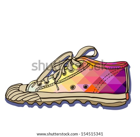 Vector colored pattern gym shoes