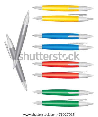 Vector colored set of pens - stock vector