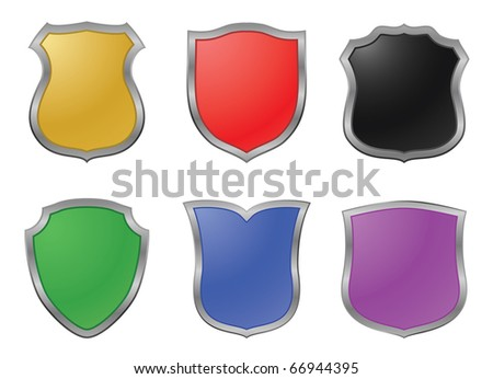 vector colored shields - design elements - stock vector