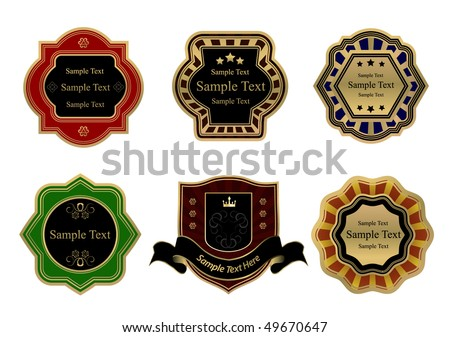 vector colored vintage labels - stock vector