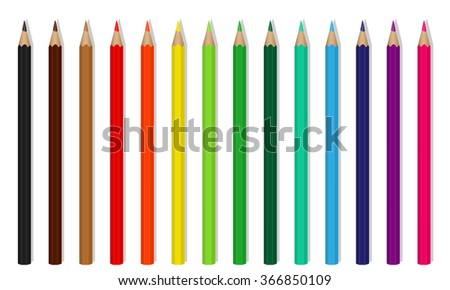 Vector colored wooden pencils on white background
