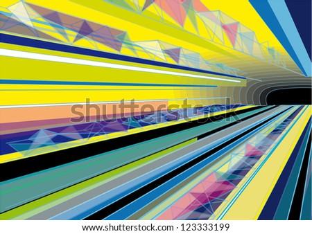 Vector Colorful Abstract Background with Subway Tunnel - transparency and pastel colors - stock vector