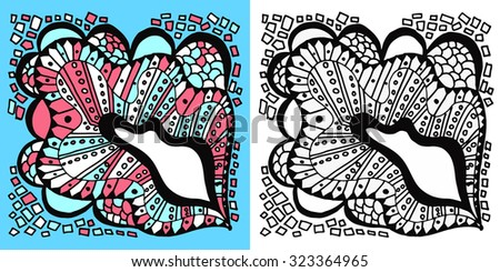 Vector colorful abstract hand-drawn texture. Pattern for coloring book. Ethnic, floral, retro, doodle, vector design element. Black and white background. Doodle vector background. Greeting card design