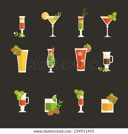 Vector colorful alcohol drinks decorated for christmas  - stock vector