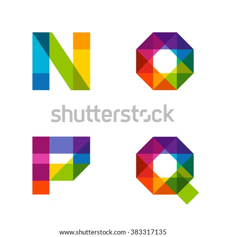 Vector colorful alphabet made of overlapping shapes. Beautiful vivid capital latin letters N O P Q. Ready for poster or artwork design. - stock vector