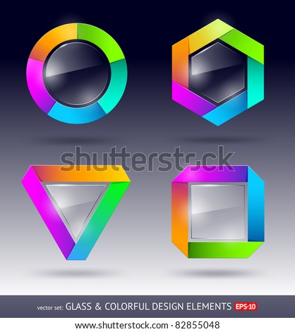 Vector colorful and glass design element - stock vector