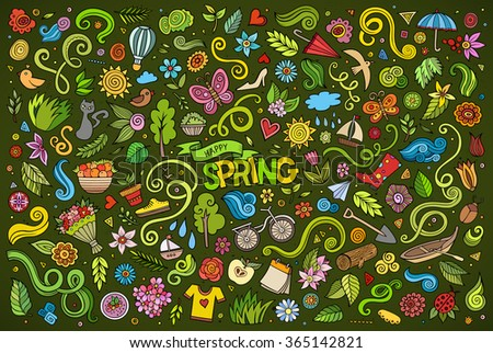 Vector colorful art Doodle cartoon set of objects and symbols on the Spring nature theme - stock vector