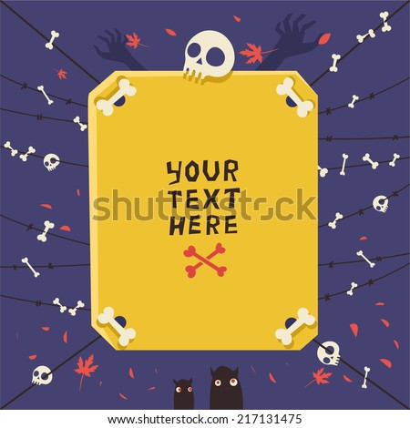 Vector colorful background for Halloween or Zombie party. Bones and skulls on barbed wire.  - stock vector
