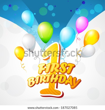 vector colorful background of first birthday - stock vector
