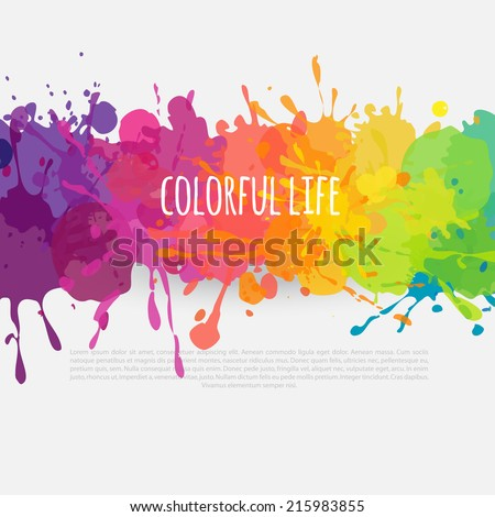 vector colorful banner made of bright stains - stock vector