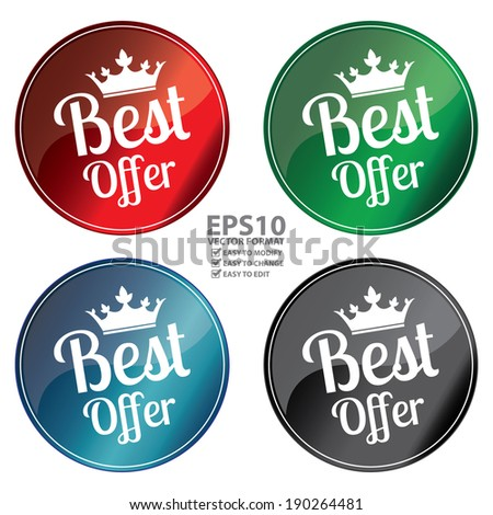 Vector : Colorful Best Offer Glossy Style Icon, Label or Sticker Isolated on White Background - stock vector
