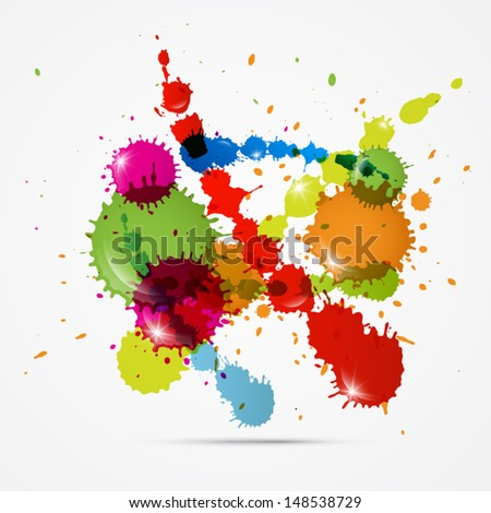Vector Colorful Blots, Splashes on White Background - stock vector