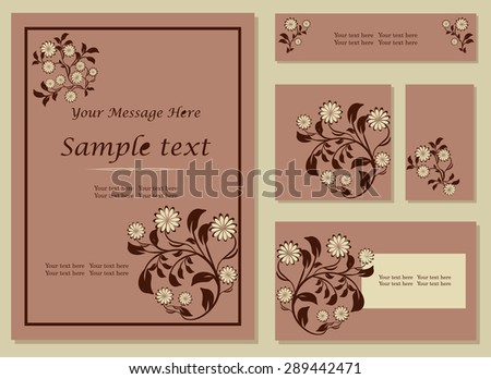 Vector colorful branches vertical frame pattern invitation greeting and thank you cards set - stock vector