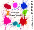 Vector colorful bright ink splashes. Element for your designs, projects, promotional sales and other your projects. Elements on separate layers for comfortable use. Just add your text - stock vector