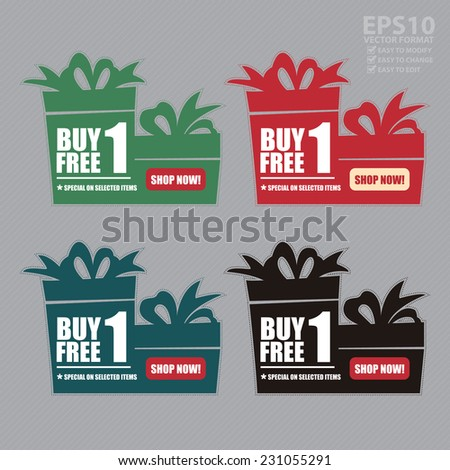 Vector : Colorful Buy 1 Free 1, Special on Selected Items, Shop Now! Icon, Label or Sticker - stock vector