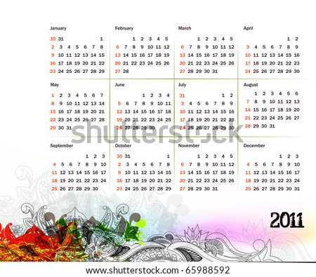 vector- colorful 2011 calendar design element. - stock vector