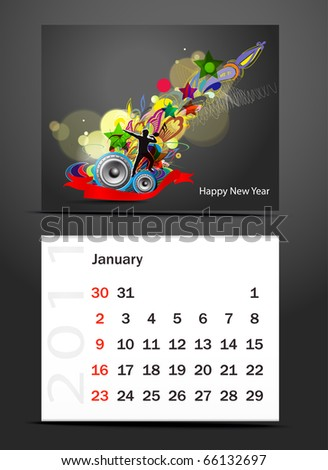 vector- colorful 2011 calendar design element. - stock vector
