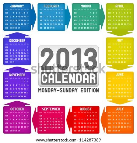 Vector colorful calendar 2013 - Monday-Sunday edition - stock vector