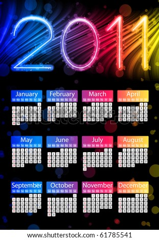 Vector - Colorful 2011 Calendar on Black Background. Rainbow Colors