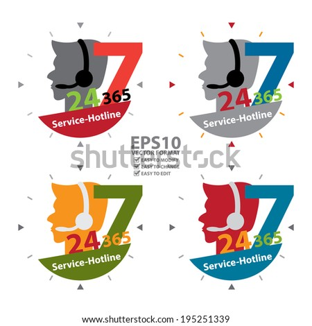 Vector : Colorful Call Center Sign With 24 Hours A Day, 7 Days A Week, 365 Days A Year Service-Hotline Label, Sign or Icon Isolated on White Background - stock vector