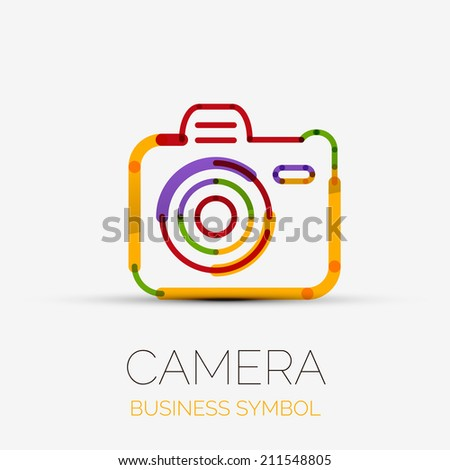 Vector colorful camera icon company logo design, business symbol concept, minimal line design - stock vector