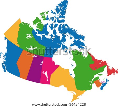 Vector colorful Canada map with province borders - stock vector