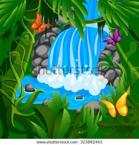 vector colorful cartoon illustration of waterfall in jungle - stock vector