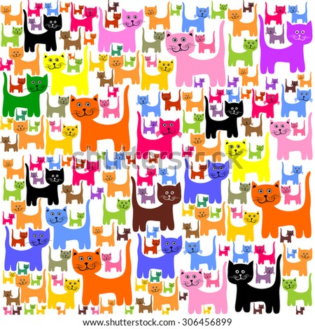 Vector Colorful Cats Pattern Background.  - stock vector