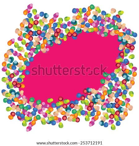 Vector colorful celebration background with round confetti and frame for design. - stock vector