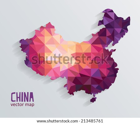 Vector colorful China map - stock vector
