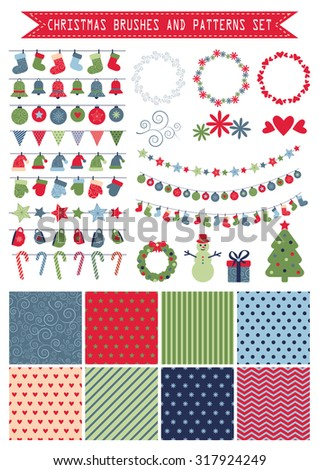 vector colorful christmas brushes and patterns set. EPS - stock vector