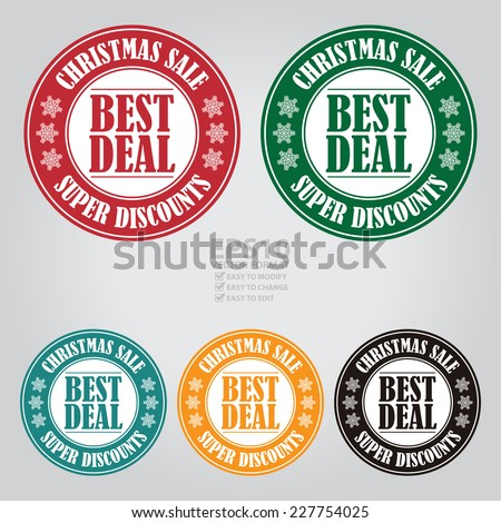Vector : Colorful Circle Best Deal Christmas Sale Icon, Label or Sticker - stock vector