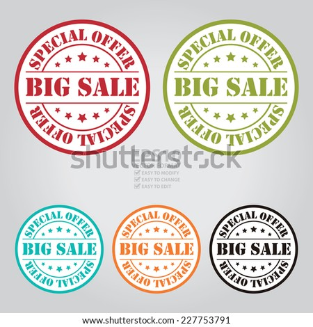 Vector : Colorful Circle Big Sale Special Offer Stamp, Icon, Label or Sticker - stock vector