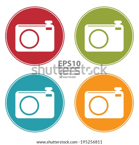 Vector : Colorful Circle Camera Icon, Sign or Symbol Isolated on White Background  - stock vector