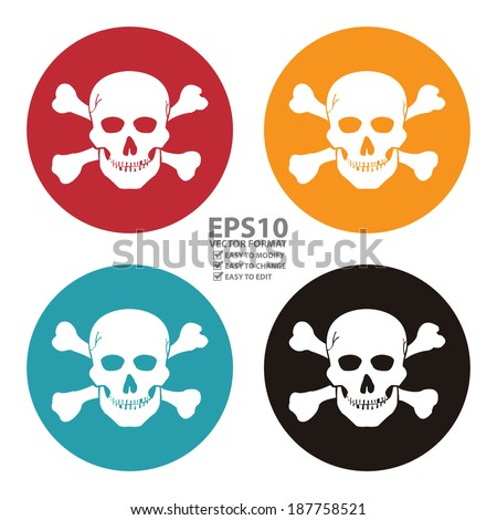 Vector : Colorful Circle Danger or Skull Icon, Sign or Symbol Isolated on White Background - stock vector