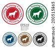 Vector : Colorful Circle Dog Training Center Icon, Sticker or Label Isolated on White Background - stock