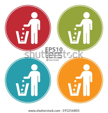 Vector : Colorful Circle Dustbin, Litter Bin or Trash Can Icon, Sign or Symbol Isolated on White Background  - stock vector